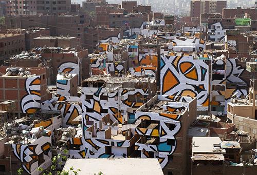 massive mosaic building mural